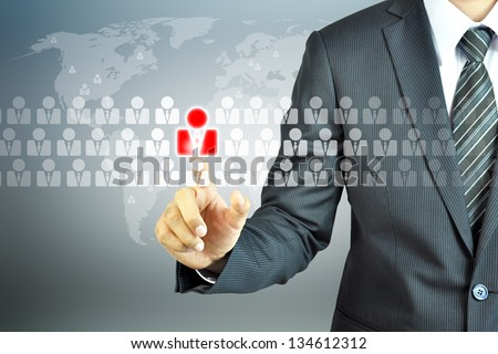 Businessman touching human resources sign - HR, HRM, HRD concept - stock photo