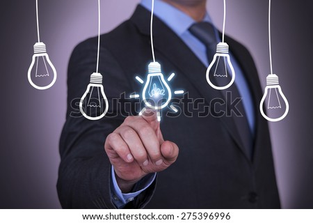 Businessman Touching Idea Conceptual - stock photo