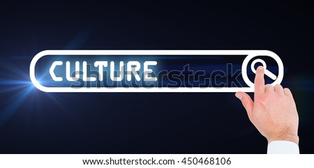 Businessman touching invisible screen against search engine - stock photo