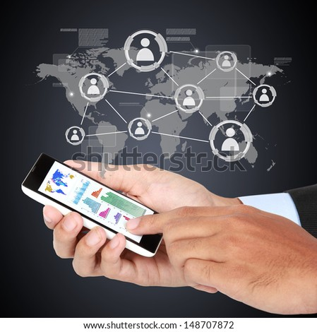 Businessman touching modern social with smartphone on virtual background - stock photo