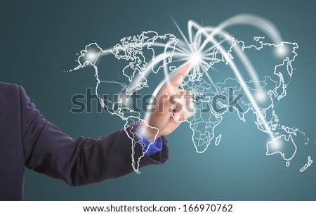 Businessman touching Network business in the world