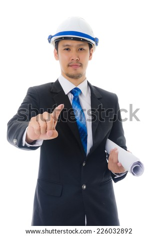 Businessman Touching on the whiteboard, Selective focus on the finger. - stock photo