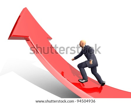 Businessman towards arrow pointing up direction overcome of economy recession concept 3d illustration