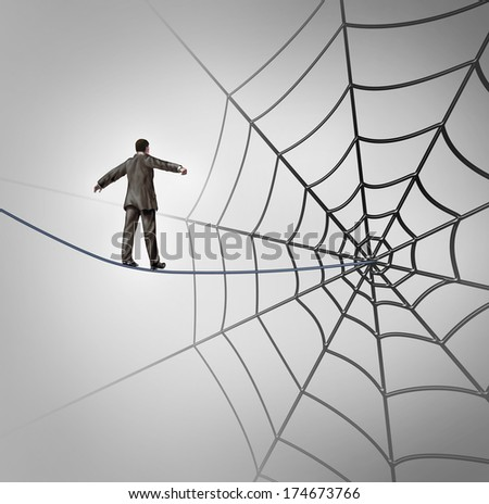 Businessman trap business concept with a tightrope walker walking on a wire leading to a giant spider web as a metaphor for adversity and deception of being lured to new career recruiting. - stock photo
