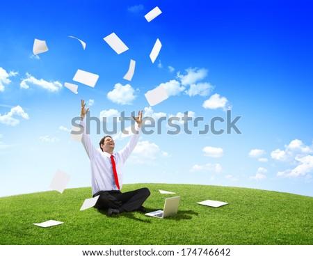 Businessman triumph - stock photo