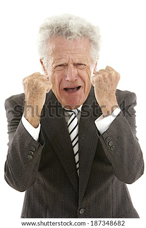 businessman trying to choke someone looking very stressed out  - stock photo