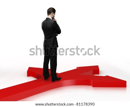 Businessman trying to make a choice on crossroads - stock photo