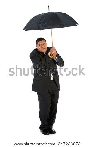 Businessman:  Trying to Stay Dry Under Umbrella