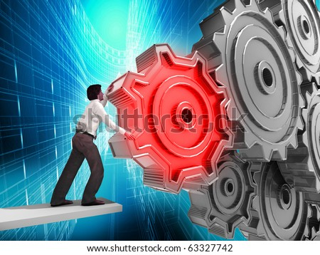 Businessman Turning a Gear - stock photo