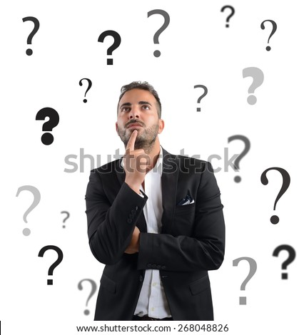 Businessman uncertain and concerned about the company - stock photo