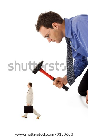 Businessman unfairly eliminating a small, rival colleague