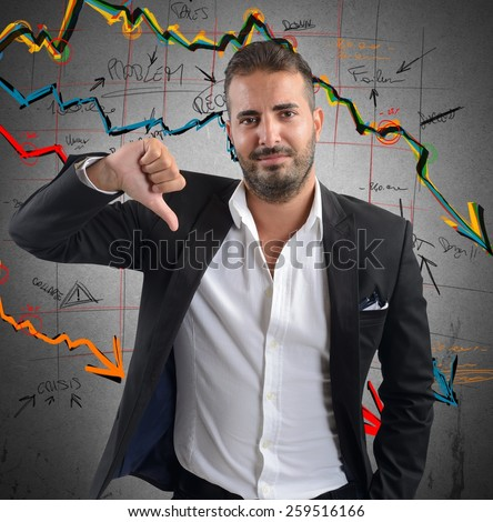Businessman unhappy and negative of company results - stock photo