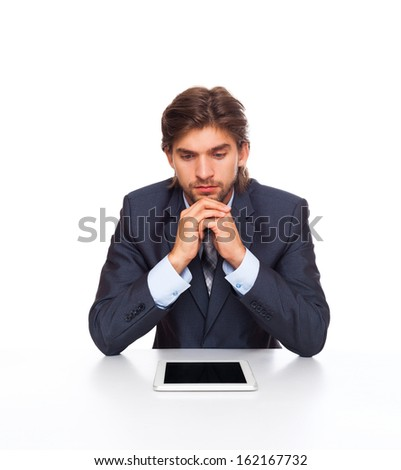 businessman upset serious problem tablet pad computer, businessman sitting at the desk negative emotion, isolated over white background