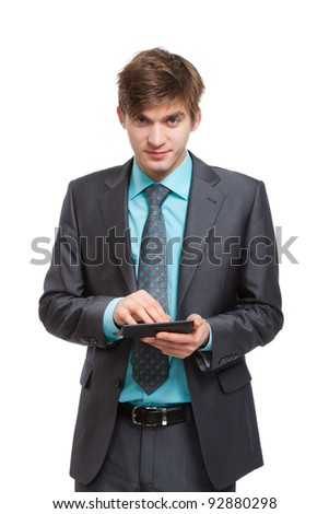 businessman use calculator, handsome young business man standing smile looking at camera, wear elegant suit and tie isolated over white background - stock photo