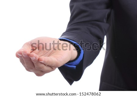 Businessman use emtry hand for your add something for show with white bacground - stock photo