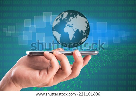 Businessman used hand for cover Digital business intenet.