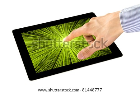 Businessman uses an interactive application on tablet pc. Isolated on white. - stock photo