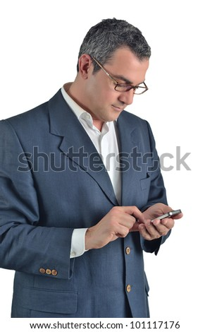 businessman using a cell phone  isolated on white - stock photo