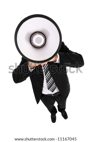 Businessman Using a Megaphone - stock photo