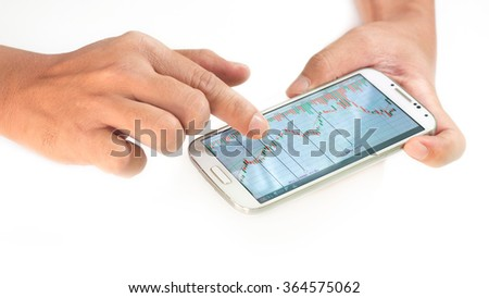 businessman using a mobile device to check stocks and market data isolate on white background - stock photo