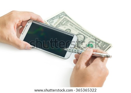 businessman using a mobile device to check stocks and market data isolate on white background (Blur data and graph in smartphone) - stock photo