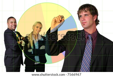 Businessman using a pie chart with electronic pen