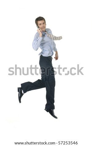 Businessman Using Cell Phone jumping
