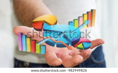 Businessman using digital 3D charts and bars interface with his hand 3D rendering