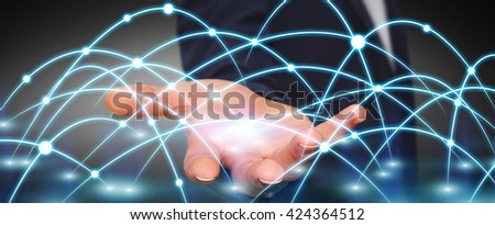 Businessman using digital network with lines and circles - stock photo