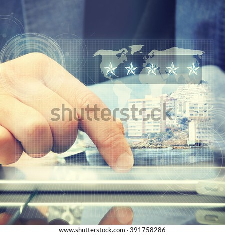 Businessman using digital tablet. Online travel shop.