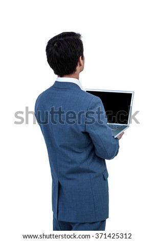 Businessman using his computer on white screen