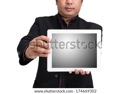 businessman using ipad white background - stock photo
