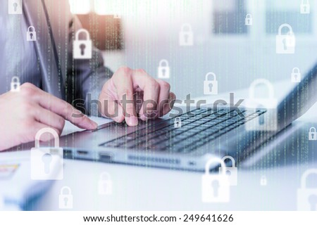 Businessman using laptop logging in on line, business technology concept - stock photo