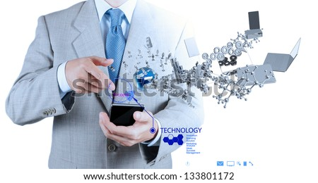 businessman using mobile phone shows internet and social network as concept - stock photo