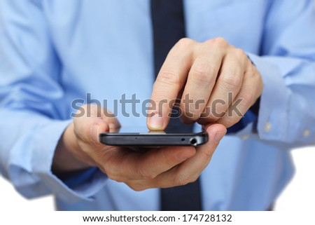 businessman using mobile smart phone - stock photo