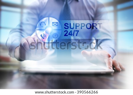 businessman using modern tablet computer. support 24/7 concept. business technology and internet concept. - stock photo