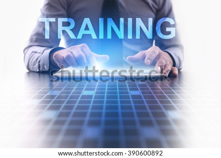 businessman using modern tablet computer. Training. business technology and internet concept. - stock photo