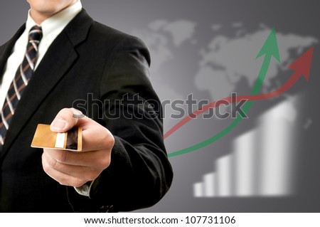 Businessman using payment for pay something. - stock photo