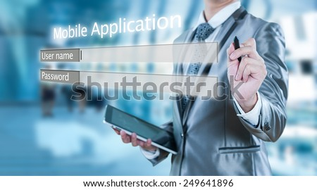 Businessman using tablet log in on line, business technology concept - stock photo