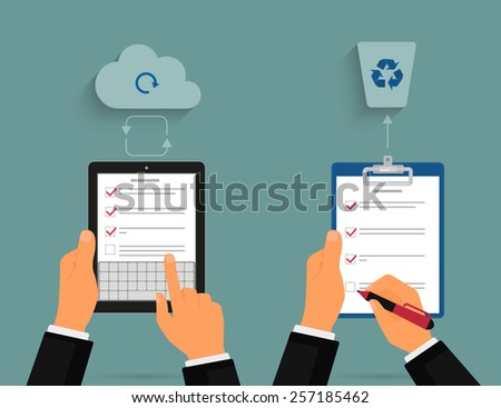 Businessman using tablet pc and notepad with task list. Cloud synchronization concept - stock photo