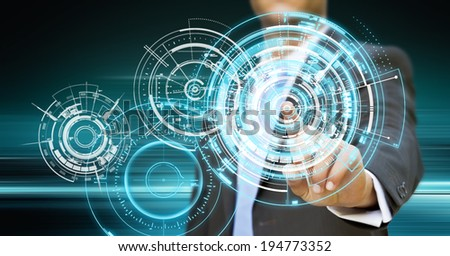Businessman using tactile interface with his fingers