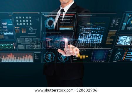 businessman using technology interface - stock photo