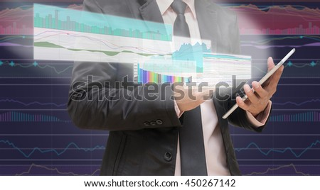 Businessman using the tablet shown the trading graph of stock market on the virtual screen over the stock chart background, Business stock market concept