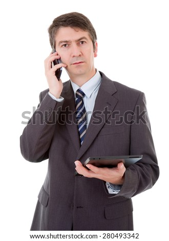 businessman using touch pad of tablet pc on the phone, isolated - stock photo