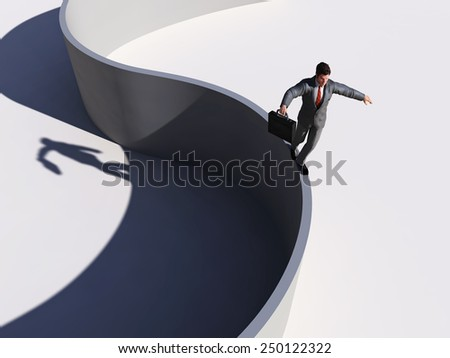 businessman walking along a curved line - stock photo
