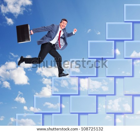 Businessman walking. Career steps in business concept. - stock photo