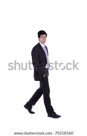 Businessman walking isolated on white (some motion blur) - stock photo