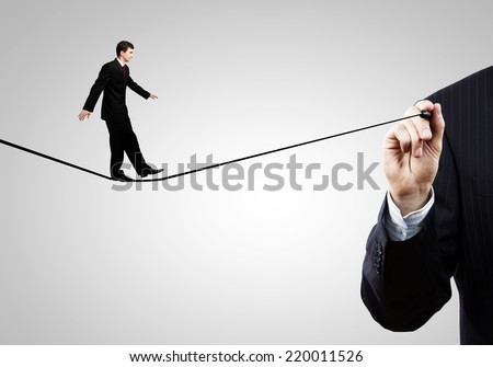 Businessman walking on drawn line. Risk concept - stock photo