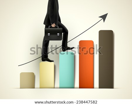 businessman walking on growing graph with arrow - stock photo