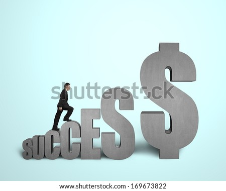 "Businessman walking on ""SUCCESS"" concrete 3D word in light green background"
